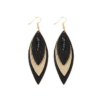 Three Layer Leather Leaf Earrings