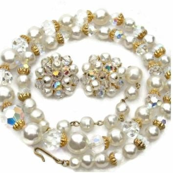 Baroque Pearl and Glass Crystals Necklace and Earring Set Aurora Borealis Finish