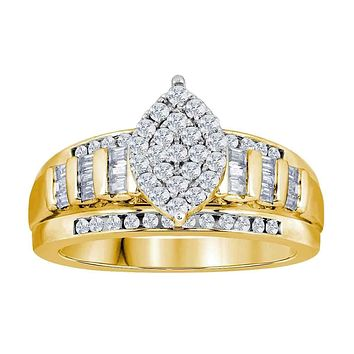 10kt Yellow Gold Women's Round Diamond Oval Cluster Bridal Wedding Engagement Ring 3.00 Cttw - FREE Shipping (US/CAN)