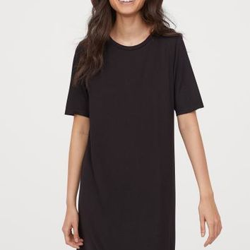 Short T-shirt Dress - Black - Ladies | H&M US