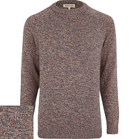River Island MensYellow twist knit crew neck sweater
