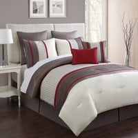 Aruba 8-Piece Comforter Set in Red