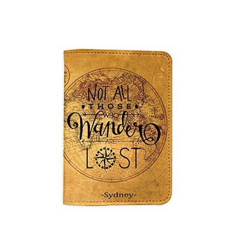 Not All Who Wander Are Lost World Map [Name Customized] Leather Passport Holder/Cover /Wallet_SCORPIOshop
