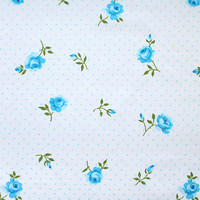 blue polkadots and roses, a vintage sheet fat quarter