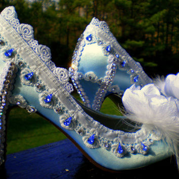Blue Wedding Shoes Crystal Feather by TheCrystalSlipper on Etsy