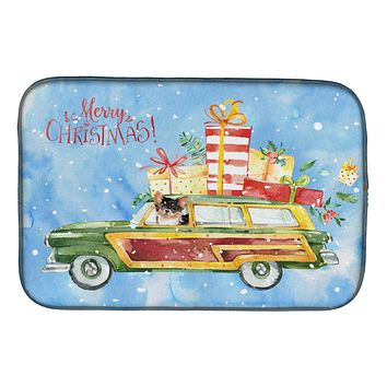 Merry Christmas Long Haired Chihuahua Dish Drying Mat CK2460DDM