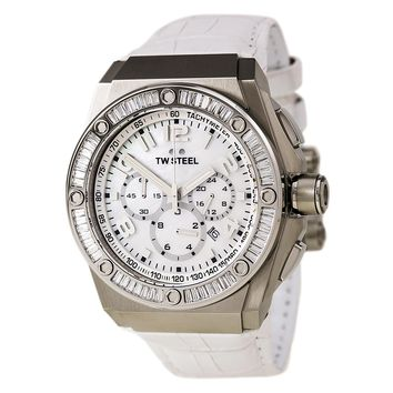 TW Steel CE4015 Unisex CEO Tech White MOP Dial White Leather Strap Chrono Watch