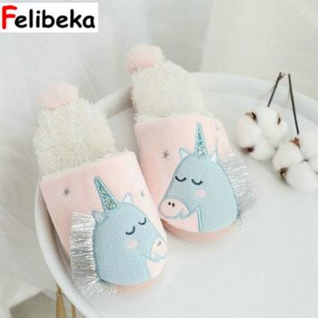 New cute Unicorn women slippers Home indoor floor adult slipper silent anti-slip thick base cotton girl shoes