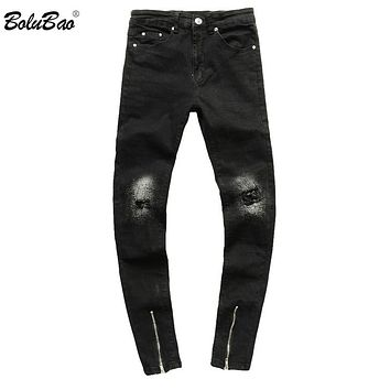 Men Slim Fit Ripped Denim Pants Black Jeans Men Pleated Biker Jeans Hip Hop Zip Cuff Stretch For Man Jeans