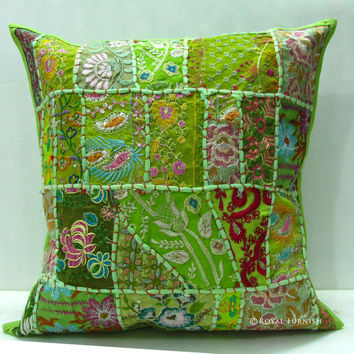 Yellow Decorative Vintage Sari Patchwork Throw Pillow