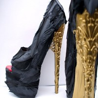 Feather Black Pumps w/ Gold Brocade Heel - Any Size - Alexander McQueen Tribute