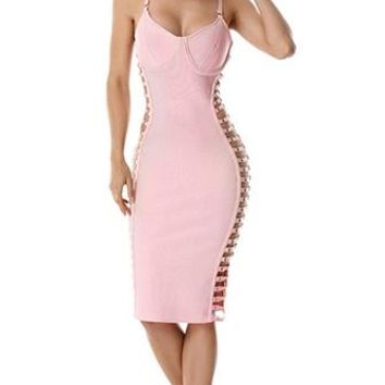 Sudden Moves Pink Sleeveless Spaghetti Strap V Neck Cut Out Sides Bodycon Bandage Midi Dress