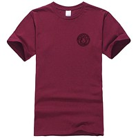 Versace Summer New Fashion Bust Side Human Head Print Leisure Women Men Top T-Shirt Burgundy