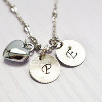 personalized hand stamped necklace,heart jewelry,family necklace,bridesmaid necklace,mothers necklace,two disc necklace,engraved necklace