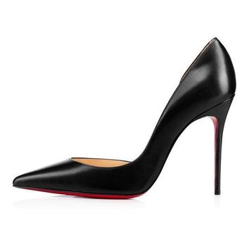 DCCK2 christian louboutin cl iriza black leather 100mm stiletto heel 13w