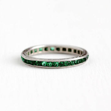Vintage Art Deco Sterling Silver Simulated Emerald Eternity Ring - 1920s Size 5 1/4 Eternity Channel Set Green Glass Stones Stacking Jewelry