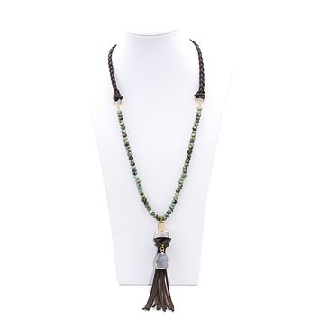 Leather Tassel Necklace With African Turquoise And Druzy Agate Charm