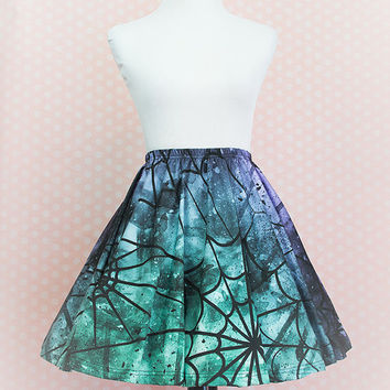 Spider Queen Spiderweb Skater Skirt Fairy Kei Pastel Goth Kawaii