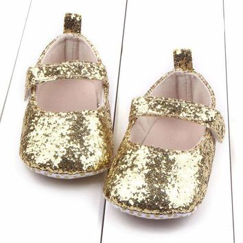 Baby Girls Sequin Glitter Soft Sole Party Shoes