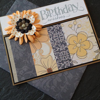Handmade Birthday Wishes Greeting Card, Great for a Woman, Wife, Girlfriend, Daughter, Mother, Sister, Best Friend, Flowers, Hand Stamped