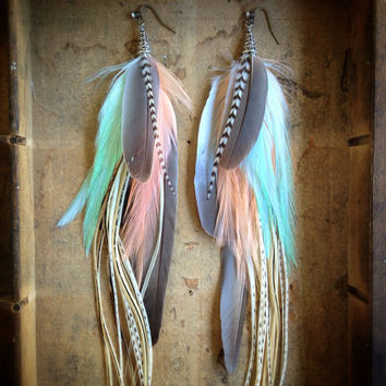 Katherine Extra Long Feather Earrings by InsideTheBirdcage on Etsy