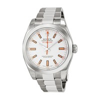 Rolex Milgauss White Index Dial Domed Bezel Oyster Bracelet Mens Watch 116400WSO