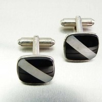 Vintage P & K Sterling Onyx with Mother of Pearl Abalone Shell Inlay Cabochon Cufflinks P and K