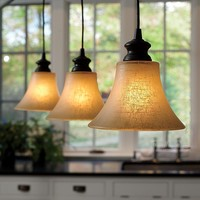 Linen Shade Pendant Light, Glass Pendant Light - Plow & Hearth