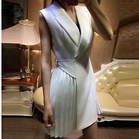 High QUALITY Newest 2017 Designer Runway Dress Women's Sleeveless Pleated Notched Collar Wrap Dress