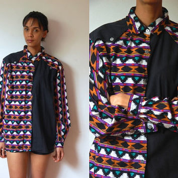 Vtg Southwest Print Black Purple Teal LS Button Down Cotton Shirt