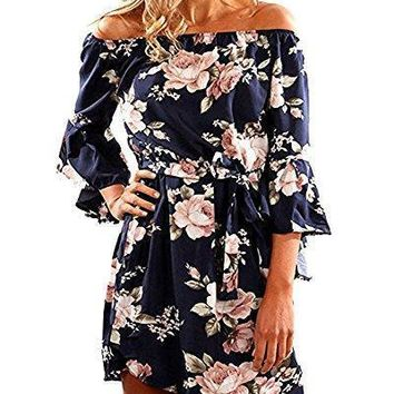 Womens Off-Shoulder Ruffles Floral Tunic