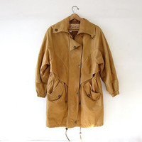 Vintage leather parka coat. Slouchy long leather coat. Light brown leather jacket. Winter coat. Batwing coat.