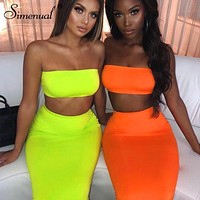 Simenual Sexy Party Matching Set Women Fashion Sleeveless 2 Piece Outfits Neon Color Strapless Top And Skirt Sets 2019 Summer