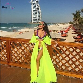 Sexy Long Bikini Cover Ups Women Dress Solid Chiffon Beach Tunic Swimsuits Cover Ups Summer Dress Vintage Beach Sarongs