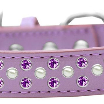 Sprinkles Dog Collar Pearl and Purple Crystals Size 14 Lavender