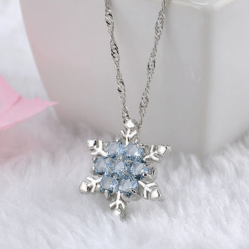 Charm Vintage lady Blue Crystal Snowflake Zircon Flower Silver Necklaces & Pendants Jewelry for Women -03324