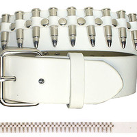 Nickel Bullets on a White Leather Belt