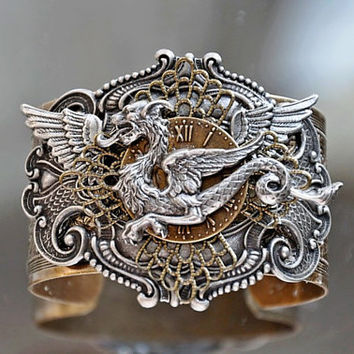 Wings Of Time fantasy mythology fantasy cuff by cynthiacouture