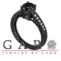 Vintage Style 0.75 Carat VVS1 Certified Fancy Black & White Diamond Engagement Ring 14K Black Gold Pave Set HandMade