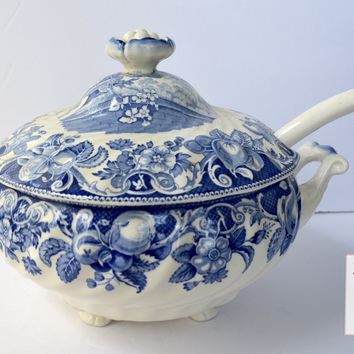 Vintage Blue Transferware Polychrome Footed Soup Tureen & RARE Ladle Royal Doulton Pomeroy Urn with Flowers