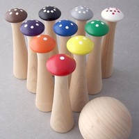 Wood Toy - Mushroom Bowling - Counting and Colors - Educational Toy