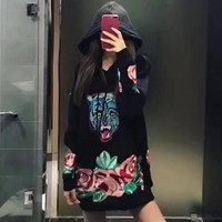 """""""Gucci"""" Women Casual Fashion Embroidery Flower Leopard Head Long Sleeve Middle Long Section Hooded Sweater Tops"""