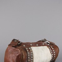 Distressed Calf Leather Studded Duffle Bag