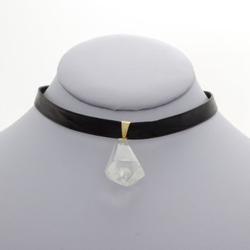 Crystal Point Leather Choker