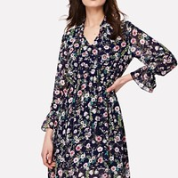 Tassel Tie Neck Calico Print Dress -SheIn(Sheinside)