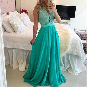 Shaped V-neck Prom Dress Stylish Sexy One Piece Dress [9515497476]