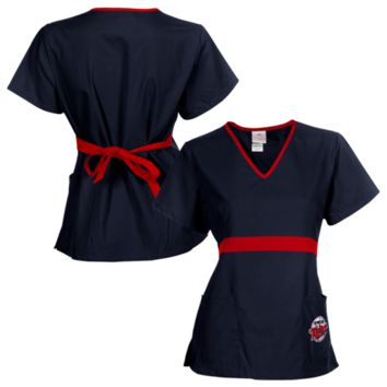 Minnesota Twins Womens MLB Solid Wrap Scrub Top with Pockets - Navy Blue/Red