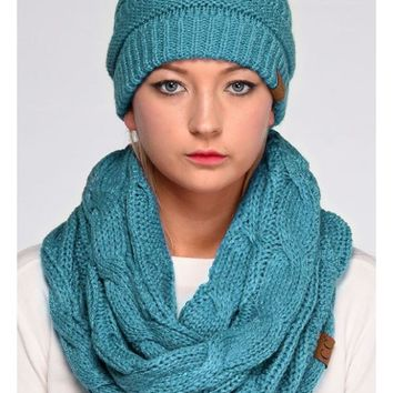 CC Cable Knit Metallic Infinity Scarf