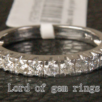Natural Diamond Wedding Band Half Eternity Anniversary Ring 14K White Gold - 0.65ct