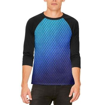 ONETOW Halloween Blue Ice Dragon Scales Costume Mens Raglan T Shirt